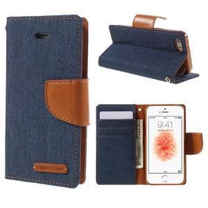 Canvas PU kožené/textilné puzdro pre mobil iPhone SE / 5s / 5 - tmavomodré - 1