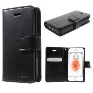Extrarich PU kožené puzdro pre iPhone SE / 5s / 5 - čierne - 1
