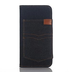 Jeans peňaženkové puzdro pre mobil iPhone SE / 5s / 5 - čiernomodré - 1