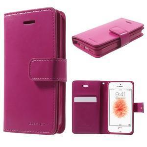 Extrarich PU kožené pouzdro na iPhone SE / 5s / 5 - magneta - 1