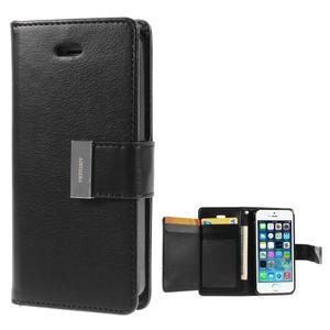 Rich diary PU kožené pouzdro na iPhone SE / 5s / 5 - černé - 1