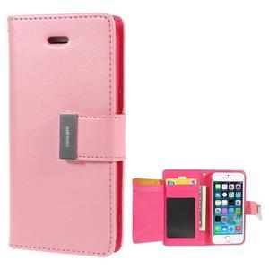 Rich diary PU kožené puzdro pre iPhone SE / 5s / 5 - ružové - 1