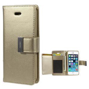 Rich diary PU kožené pouzdro na iPhone SE / 5s / 5 - zlaté - 1