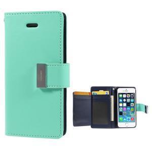 Rich diary PU kožené puzdro pre iPhone SE / 5s / 5 - azurové - 1