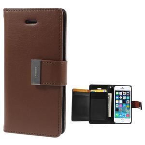 Rich diary PU kožené pouzdro na iPhone SE / 5s / 5 - hnědé - 1