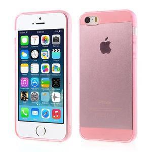 gélový Transparentný obal pre iPhone SE / 5s / 5 - ružový - 1
