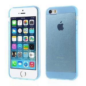 Gelový transparentní obal na iPhone SE / 5s / 5 - modrý - 1