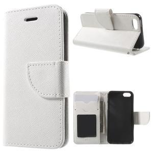 Cross PU kožené puzdro pre iPhone SE / 5s / 5 - biele - 1