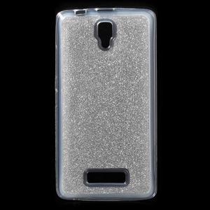 Povrchově třpytivý gelový obal na mobil Lenovo A2010 - stříbrný - 1