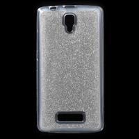 Povrchově třpytivý gelový obal na mobil Lenovo A2010 - stříbrný - 1/7