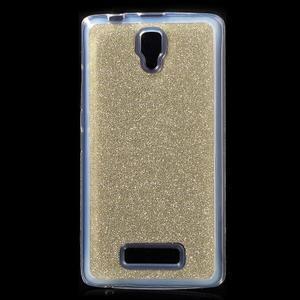 Povrchove trblietavý gélový obal pre mobil Lenovo A2010 - zlatý - 1