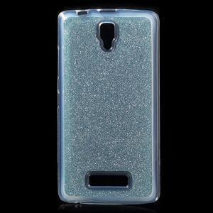 Povrchově třpytivý gelový obal na mobil Lenovo A2010 - světlemodrý - 1