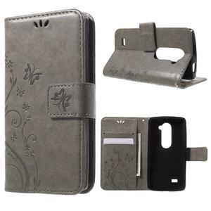 Buttefly PU kožené pouzdro na mobil LG Leon - šedé - 1
