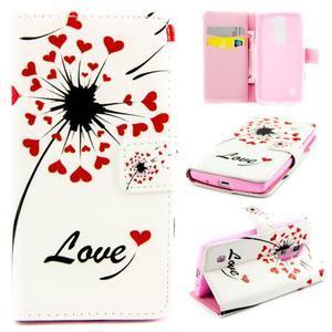 Peňaženkové PU kožené puzdro pre LG Leon - love - 1