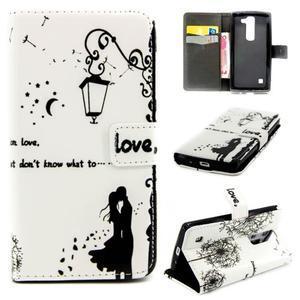 Peňaženkové PU kožené puzdro pre LG Leon - láska pod lampou - 1