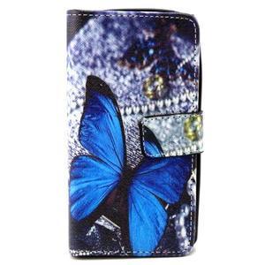Style peňaženkové puzdro pre LG Leon - modrý motýľ - 1