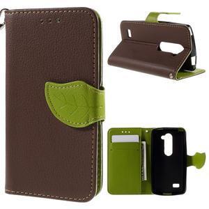 Leaf PU kožené pouzdro na mobil LG Leon - hnědé - 1