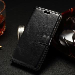 Peňaženkové PU kožené puzdro na LG Spirit - čierne - 1