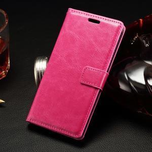 Peňaženkové PU kožené puzdro na LG Spirit - rose - 1