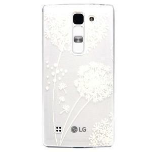 Transparentný gélový obal na mobil LG Spirit - biela púpava - 1