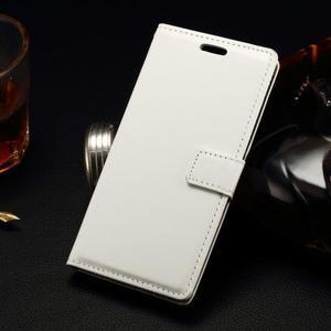 Peňaženkové PU kožené puzdro na LG Spirit - biele - 1