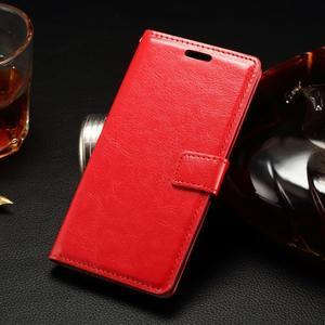 Peňaženkové PU kožené puzdro pre LG Spirit - červené - 1