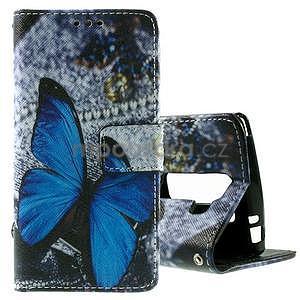 Peňaženkové puzdro na LG Spirit - modrý motýľ - 1