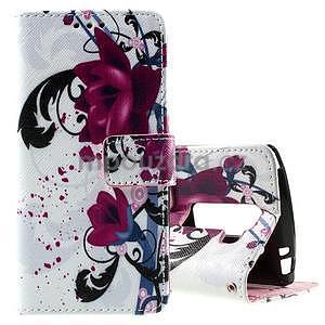 Peňaženkové puzdro na LG Spirit - fialové kvety - 1