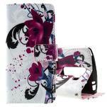 Peňaženkové puzdro na LG Spirit - fialové kvety - 1/6