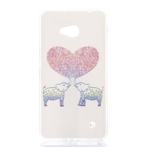 Softy gélový obal pre mobil Microsoft Lumia 640 LTE - zamilovaní sloni - 1
