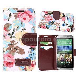 Kvetinové peňaženkové púzdro na HTC One Mini 2 - biele - 1