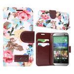 Kvetinové peňaženkové púzdro na HTC One Mini 2 - biele - 1/5