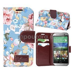 Kvetinové peňaženkové púzdro na HTC One Mini 2 -  modré - 1