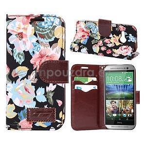 Kvetinové peňaženkové púzdro na HTC One Mini 2 - čierne - 1