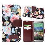 Kvetinové peňaženkové púzdro na HTC One Mini 2 - čierne - 1/5