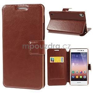 Peňaženkové puzdro pre Huawei Ascend P7 - hnedé - 1