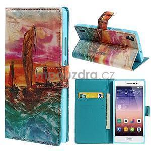 Obrazové peňaženkové puzdro na Huawei Ascend P7 - oceán - 1
