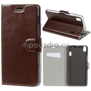 Hardy peňaženkové puzdro pre Lenovo A7000 a Lenovo K3 Note -  hnedé - 1