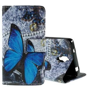 Cross peňaženkové puzdro na Xiaomi Mi4 - modrý motýl - 1
