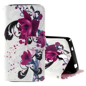 Cross peňaženkové puzdro na Xiaomi Mi4 - fialové květy - 1