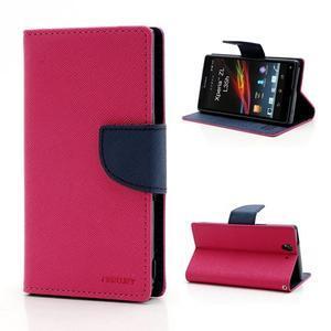 Mr. Goos peňaženkové puzdro na Sony Xperia Z - rose - 1