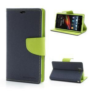Mr. Goos peňaženkové puzdro na Sony Xperia Z - tmavo modré - 1