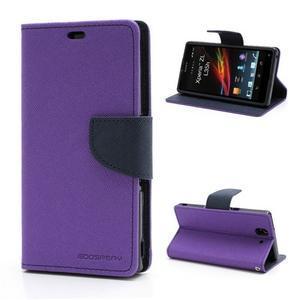 Mr. Goos peňaženkové puzdro pre Sony Xperia Z - fialové - 1