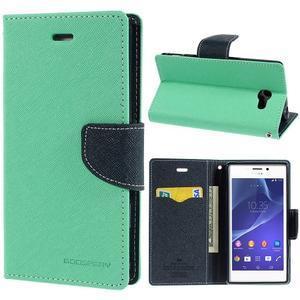 Mr. Goos peňaženkové puzdro pre Sony Xperia M2 - azurové - 1