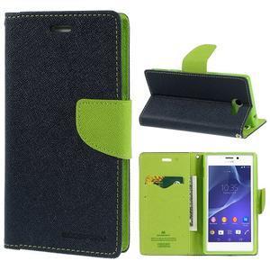 Mr. Goos peňaženkové puzdro pre Sony Xperia M2 - tmavo modré - 1