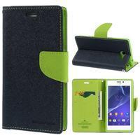 Mr. Goos peňaženkové puzdro pre Sony Xperia M2 - tmavo modré - 1/7