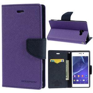 Mr. Goos peňaženkové puzdro na Sony Xperia M2 - fialové - 1