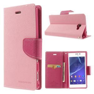 Mr. Goos peňaženkové puzdro na Sony Xperia M2 - růžové - 1