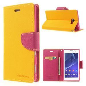 Mr. Goos peňaženkové puzdro pre Sony Xperia M2 - žlté - 1