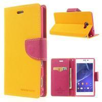 Mr. Goos peňaženkové puzdro pre Sony Xperia M2 - žlté - 1/7